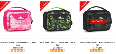 HIGH SIERRA : SINGLE COMPARTMENT LUNCH BAG Just Starting From $8.99!