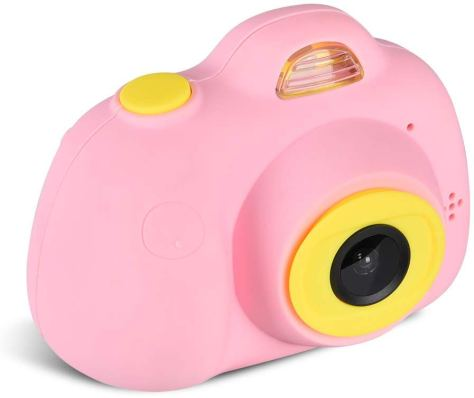 Kids Camera Video Recorder Anti-Dropping Dual Camera Kids Toy with 16G TF/Micro SD Card (Pink) for