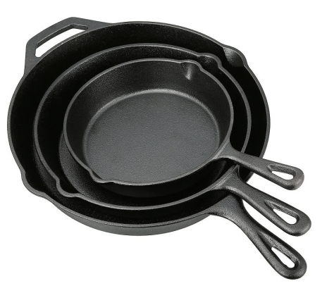 Ozark Trail 3 Piece Cast Iron Skillet Set for $18.99 w/code