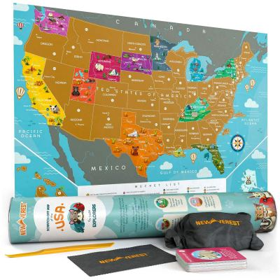 Amazon : Scratch Off Map of The USA Just $10.74 W/Lightening Deal + $2 Off Coupon (Reg : $19.99) (As of 10/23/2019 11.06 AM CDT)