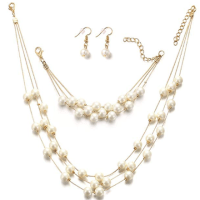 Amazon : Silver Gold Faux PearlsNecklace Earrings Ring Bracelet Jewelry Set  Just $3.20 W/Code (Reg : $15.99) (As of 10/16/2019 10.15 AM CDT)