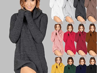 Amazon : Women Turtleneck Long Sleeve Solid Pullover Loose Sweater Dress Boat Neck Just $9.14 W/Code (Reg : $30.47) (As of 10/23/2019 6.50 PM CDT)