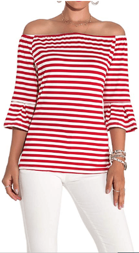 Amazon : Women's Off Shoulder Flared Sleeve Black and White Stripe T Shirt Top Just $4.73 W/Code (Reg : $14.99) (As of 10/12/2019 9.48 PM CDT)