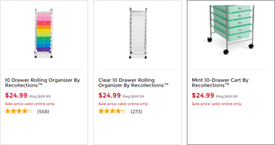 Micheal's : 10 Drawer Rolling Carts Just $19.99 W/Code (Reg : $69.99)