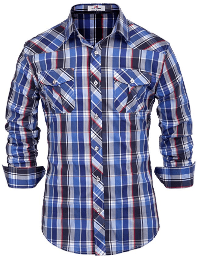 Amazon : Men's Checkered Long Sleeve Blue Plaid Button Down Shirt Just $8.75 W/Code (Reg : $24.99) (As of 11/11/2019 2.17 PM CST)
