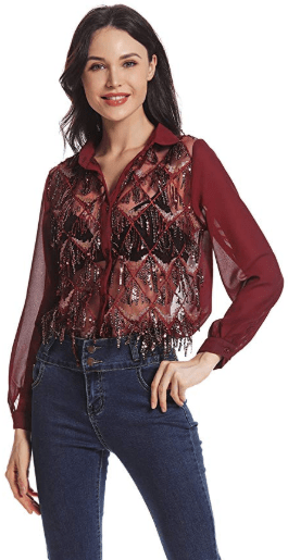 Amazon : Women's Long Sleeve Button Sequin Mesh Lace Shirt See Through Tops Just $12.99 W/Code (Reg : $25.99) (As of 11/11/2019 7.56 PM CST)