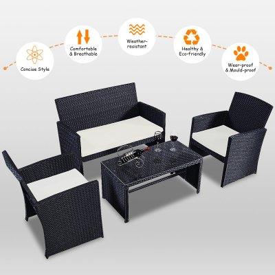 Amazon : 4-Piece Rattan Patio Furniture Set Just $154 (Reg : $279.98) (As of 11/13/2019 1.37 PM CST)
