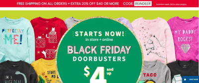 Carters and OshKosh : All orders + Shop $4 ($5 for big kids) Tees & Sweats and $6 Fleece Cozies !