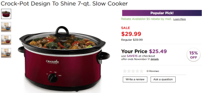 Kohl's : Crock-Pot Design To Shine 7-qt. Slow Cooker Just $7.99 !