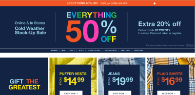 Gap : 50% off + extra 20% Off W/Code Everything online!