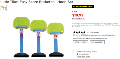 Kohl's : Little Tikes Easy Score Basketball Hoop Set Just $19.99 (Reg $29.99)