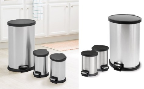 BlackFriday Price : Mainstays 3-Piece Stainless Steel Waste Can Set ONLY $25.88 at Walmart.com (Reg $50)