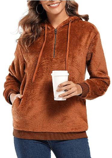 Amazon : Women Long Sleeve Hoodies Zipper Fuzzy Sherpa Sweatshirt Just $15.99 W/Code (Reg : $79.99) (As of 11/18/2019 8.10 PM CST)