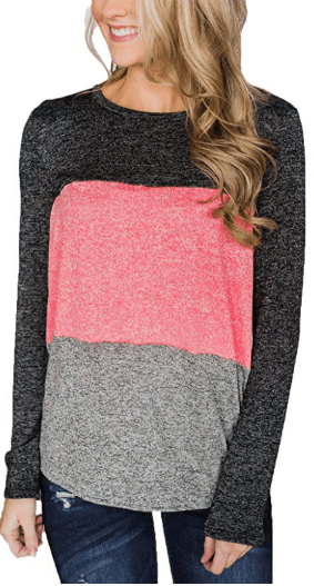 Amazon : Women's Casual Color Block Long Sleeve Crew Neck Tunics Tops Just $13.99 W/Code (Reg : $27.99) (As of 11/18/2019 3.22 PM CST)