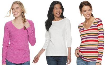 Women's Long Sleeve Tees ONLY $2.99 Each (Reg $16) After Kohl's Cash – Black Friday!