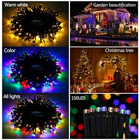 Indoor Outdoor 150 Led 49.2ft String Lights Warm White RGB with Remote Dimmable Timer 3 Modes Lighting for $7.45 w/code