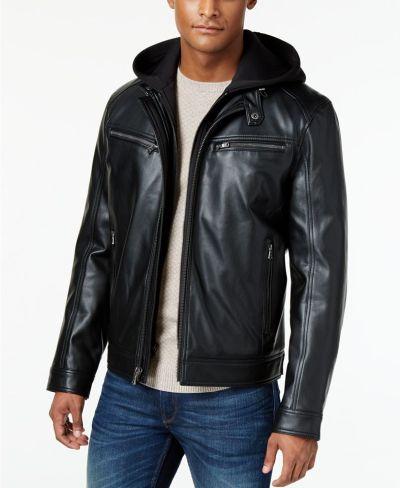 Michael Kors Men's Faux-Leather Hooded Bomber Jacket for $99.99 ($250)