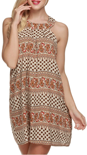 Amazon : Women's Bohemian Vintage Printed Ethnic Style Back Cut-Out Casual Tunic Dress Just $9 W/Code (Reg : $29.99) (As of 12/09/2019 9.20 AM CST)