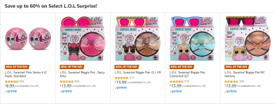 Amazon : Save up to 60% on Select L.O.L Surprise! Just $8.99-13.99 W/DEAL OF THE DAY (Reg : $19.99-39.99) (As of 12/19/2019 5.36 AM CST)