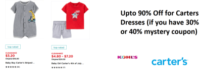 Wow ! UP TO 90% OFF Carters Clothing at Kohl's.