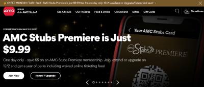 1-Yr. AMC Stubs Premier Membership : $10