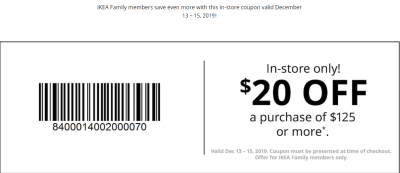 Rare $20 Off $125 IKEA Purchase Coupon (In-Store Only)