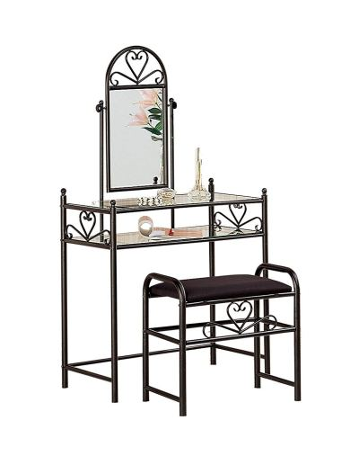 Amazon : Metal 2-piece Vanity Set Black and Clear Just $85.53 (Reg : $149.99) (As of 12/09/2019 1.28 PM CST)