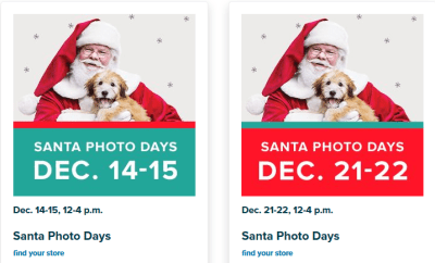 FREE Photo with Santa at PetSmart on December 14th, 15th, 21st, and 22nd
