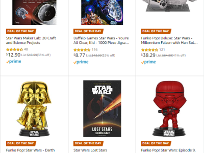 Amazon : Save up to 90% on Star Wars Toys, Books, Home, & more (As of 12/18/2019 5.56 AM CST)