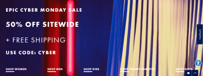 Tommy Hilfiger : Cyber Monday Sale : Extra 50% Off Sitewide + Free Shipping.
