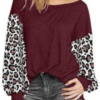 Amazon : ** Free**Women O-Neck Autumn Long Sleeve Cotton Leopard Loose Tops Plus Size Bloues with Side Twist Knotted (As of 12/06/2019 2 PM CST)