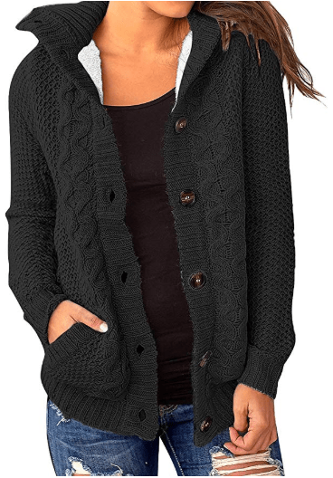 Amazon : Women's Casual Faux Fur Hooded Button Pocket Sweater Knit Outerwear Just $19.99 W/Code (Reg : $39.99) (As of 12/11/2019 6.18 PM CST)