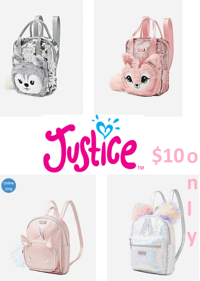 Justice Backbag for just $10 only+ Free Ship NOW