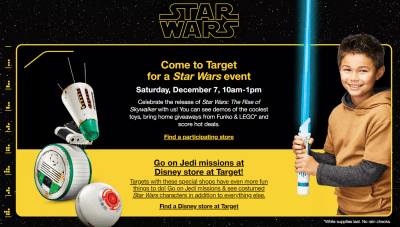 FREE Star Wars Kids Event at Target on 12/7