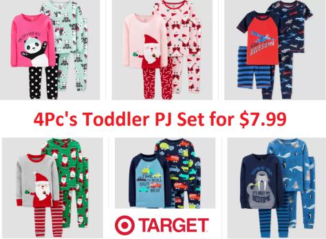 Target: Toddler Boys & Girls' 4pc Pajama Set for $7.99