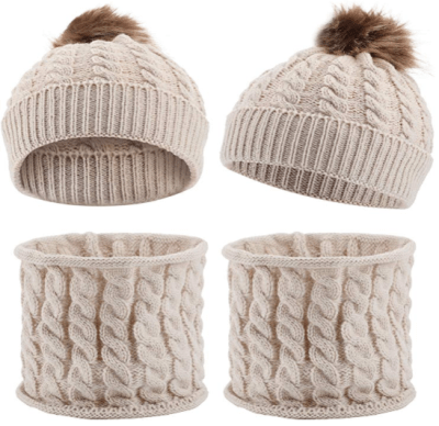 Amazon : 2 Sets Baby Hat Scarf Beanie Cap with Pom Knit Just $3.99 (As of 1/16/2020 9.18 PM CST)