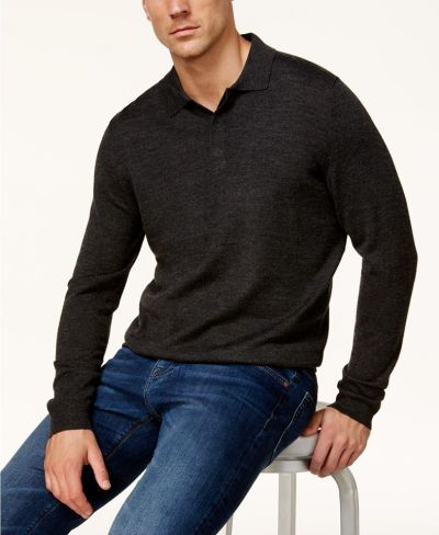MACY'S: Club Room Men's Merino Wool Blend Polo Sweater, JUST $18.74 (Reg $75.00) with code WINTER