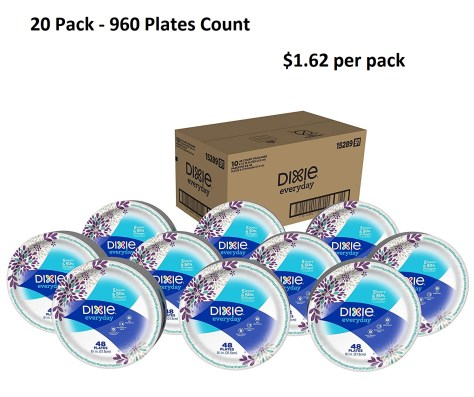 20 Pack (960 Count) Dixie Plates for $16.26