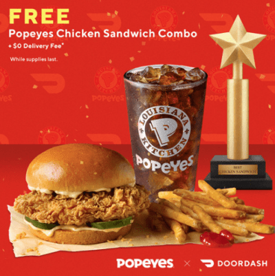 DoorDash Code | Free Popeyes Chicken Sandwich Combo + Free Delivery!