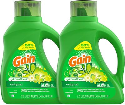 Amazon : Gain Laundry Detergent Liquid Plus Aroma Boost, Original Scent, HE Compatible, 75 oz, Pack of 2, 96 Loads Total Just AS LOW AS $12.67 W/Code (Reg : $18.99) (As of 1/27/2020 8.23 PM CST)