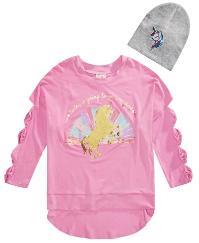 MACY'S: SALE! Belle Du Jour Big Girls 2-Pc. Sequined Unicorn Bow Sweatshirt & Beanie Set $8.36 (Reg $42.00)