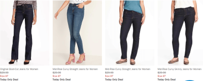 Old Navy : TODAY only, save 50% off jeans!