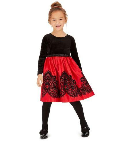 MACY'S: Rare Editions Toddler Girls Flocked Velvet Dress, JUST $14.76 (Reg $74.00)