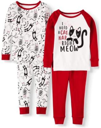 Walmart : Toddler Girl Long Sleeve Cotton Snug Fit Pajamas, 4Pc Set Just $7.50 + Store Pickup.