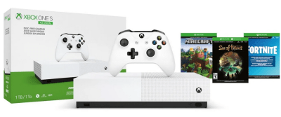 Microsoft Xbox One S 1TB All Digital Edition 3 Game Bundle (Disc-free Gaming), White for $149.99 (reg: $249)