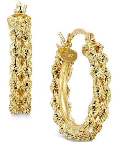 MACY'S: Heart Rope Chain Hoop Earrings in 14k Gold $165.00 (Reg $550.00) with code FLASH