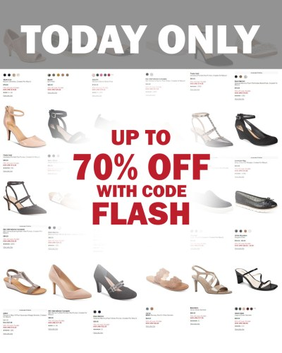 MACY'S: WOMEN'S SHOES, 50-70% OFF with CODE FLASH, TODAY ONLY