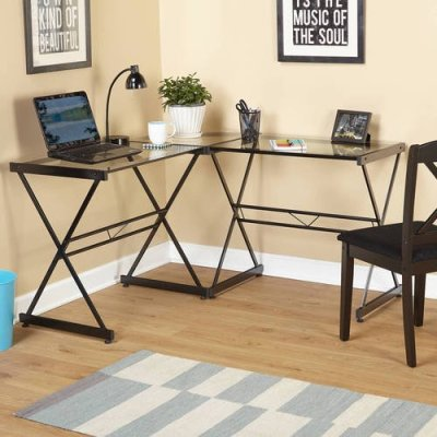 WALMART: Atrium Metal and Glass L-shaped Computer Desk, Multiple Colors $113.55