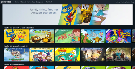 Amazon Prime Video streams children's movies and Television free of charge. No Prime Membership Required