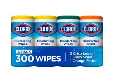 WALMART: 4pk Clorox Disinfecting Wipes (300 Count Pack) $12.78